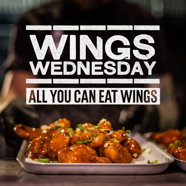 ALL YOU CAN EAT Buffalo Chicken Wings or Buffalo Cauliflower for the price of a large portion.